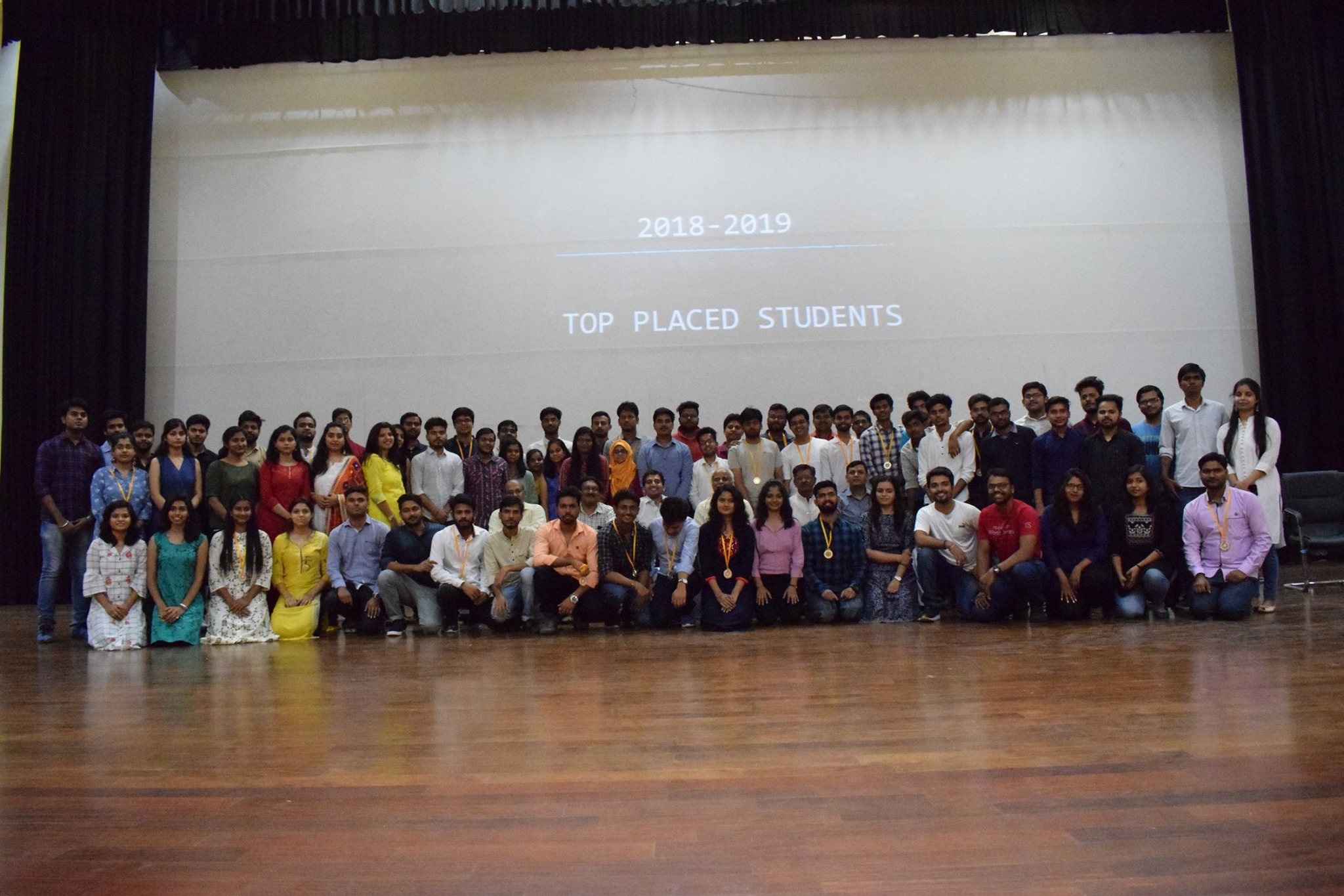 Top placed students of 2018-19 Batch being felicitated by the Director